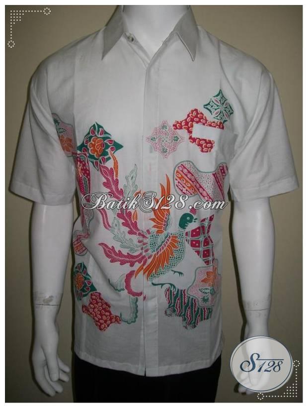 Baju Batik Pria Putih, Kemeja Batik Lelaki Keren Murah [LD168]