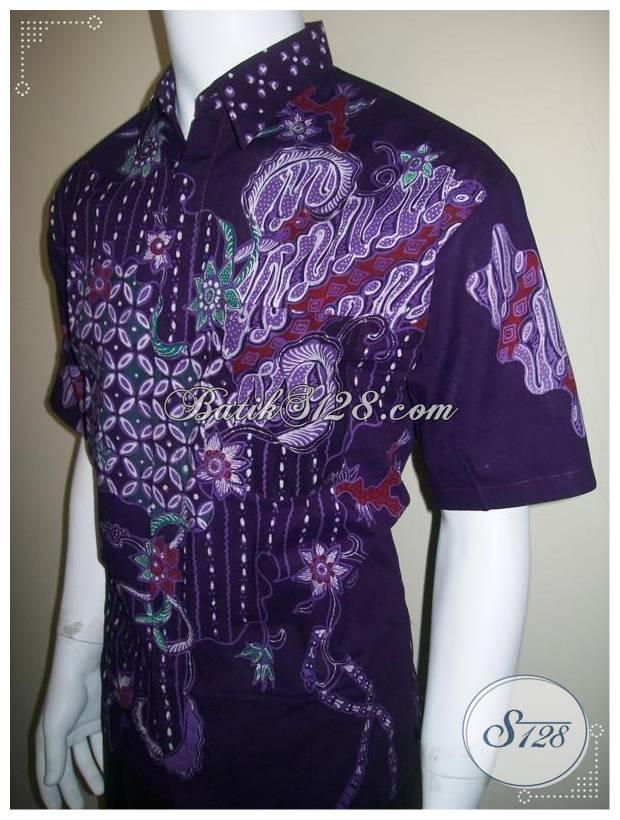 Kemeja Batik Tulis Warna Ungu, Baju Batik Pria Unik dan Tidak Luntur [LD175T]