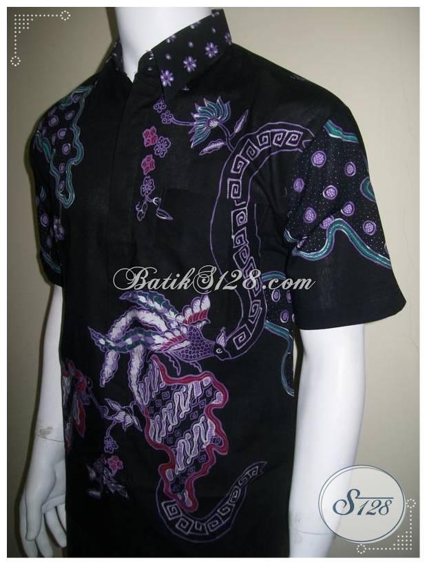 Kemeja Batik Tulis Lengan Pendek Warna Hitam Corak Modern [LD180T]
