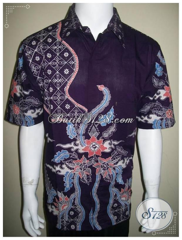Kemeja Batik Elegan Warna Ungu Untuk Eksekutif Muda Tampil Gaya, Batik Tulis [LD203T-XL]