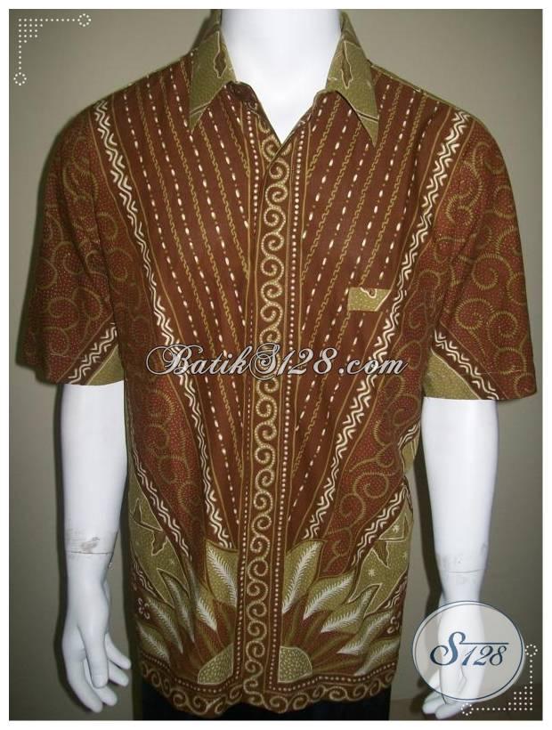 Kemeja Batik Pria Warna Coklat Soga Motif Matahari Batik Tulis