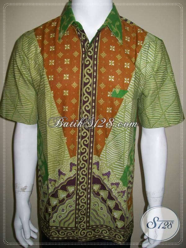 Pakaian Batik Pria Motif Matahari Kemeja Batik Tulis Modern