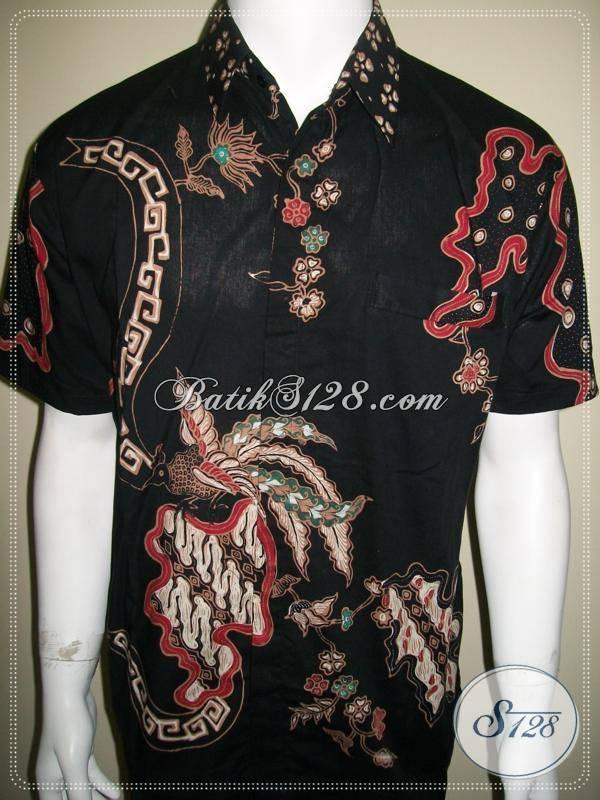 Baju Batik Pria Motif Burung Warna Hitam Elegan Dan