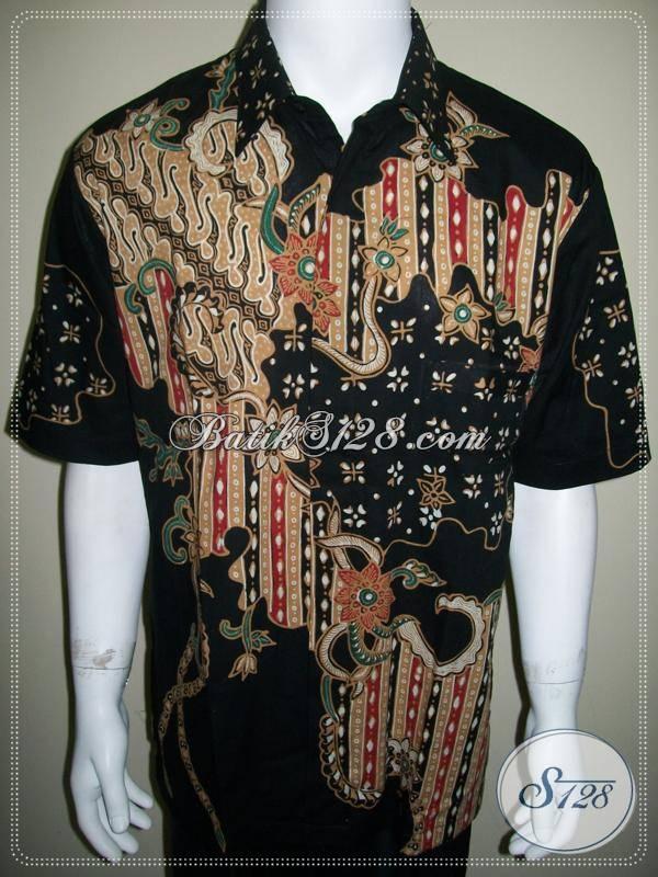Kemeja Batik Tulis Tradisional Motif Modern, Dasar Warna Hitam [LD302T-XL]