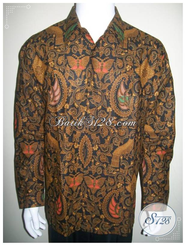 Hem Batik Lengan Panjang Ukuran XL Besar, Warna Dasar Hitam [LP229PC-XL]