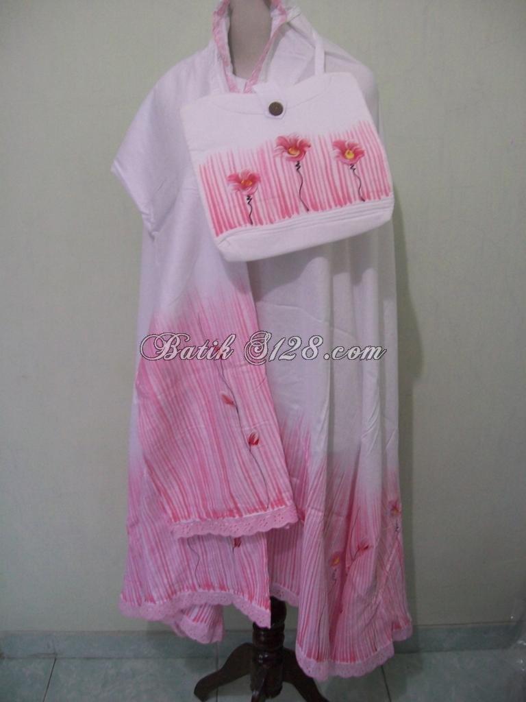 Mukena Batik Jual Murah Asli Batik Solo, Model Trendy, Motif Modern [MIP104-Pink]