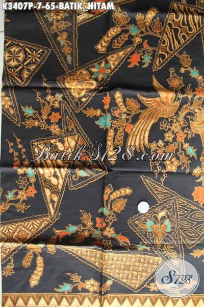 Kain Batik Hitam Proses Printing, Batik Solo Asli Motif Mewah Dan Elegan, Cocok Banget Untuk Busana Resmi Nan Istimewa Hanya 60 Ribuan [K3407P-200x110cm]