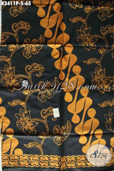 Kain Batik Halus Dasar Hitam Motif Klasik, Batik Printing Solo Asli Kwalitas Istimewa, Cocok Banget Untuk Pakaian Kondangan Dan Baju Resmi Lainnya [K3411P-200x110cm]
