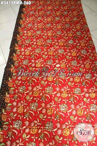 Jual Kain Batik Indonesia Khas Solo Jawa Tengah, Batik Halus Warana Merah Motif Keren Proses Kombinasi Tulis, Bisa Untuk Pakaian Pria Atau Wanita [K3413PM-240x110cm]