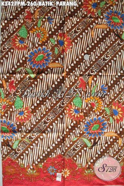 Produk Kain Batik Elegan Klasik Motif Parang, Batik Halus Dan Mewah Proses Kombinasi Tulis, Bahan Pakaian Kerja Untuk Tampil Beda [K3427PM-240x110cm]