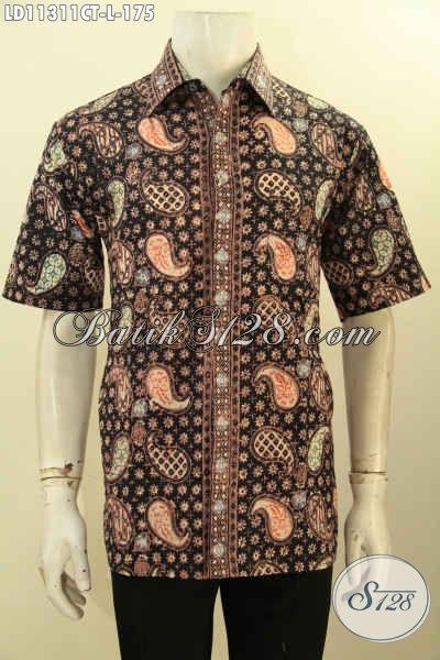 Produk Baju Batik Modis Kwalitas Istimewa, Busana Batik Modern Model Lengan Pendek Motif Terbaru Proses Cap Tulis, Bisa Buat Kerja Atau Acara Resmi [LD11311CT-L]