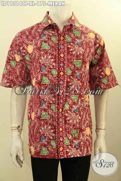 Baju Batik Merah Lengan Pendek Halus Desain Modis Lengan ...