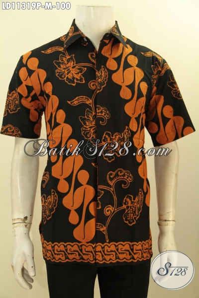 Sedia Busana Batik Pria Model Lengan Pendek Elegan Motif Klasik Proses Printing, Baju Batik Kerja Nan Istimewa Hanya 100 Ribu Saja [LD11319P-M]