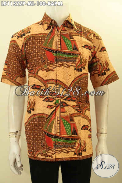 Batik Hem Elegan Pria Motif Kapal, Busana Batik Lengan Pendek Halus Proses Printing Nan Elegan, Bikin Penampilan Pria Makin Tampan Maksimal [LD11322P-M]