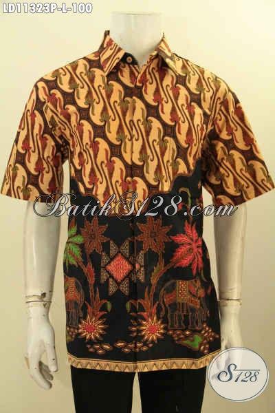 Baju Batik Pria Motif Kombinasi, Kemeja Batik Elegan Desain Modis Lengan Pendek Kwalitas Bagus Harga Murmer, Cocok Untuk Kondangan [LD11323P-L]
