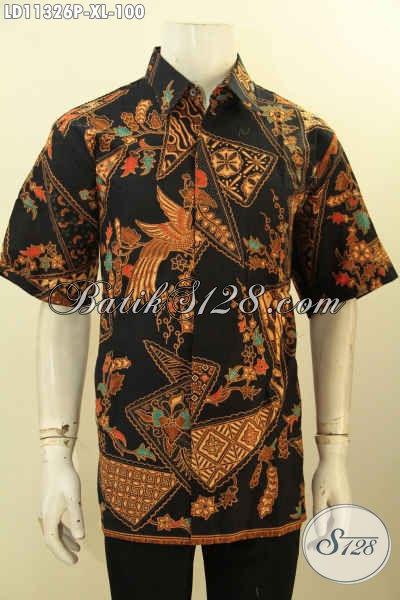 Batik Kemeja Pria Elegan Model Lengan Pendek, Pakaian Batik Solo Jawa Tengah Halus Desain Motif Mewah Proses Printing Hanya 100K [LD11326P-XL]