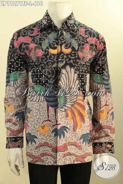 Busana Batik Mewah Model Lengan Panjang, Kemeja Batik Premium Solo Asli Motif Bagus Tulis Asli Bahan Adem Daleman Full Furing, Tampil Gagah Berwibawa [LP11271TF-L]