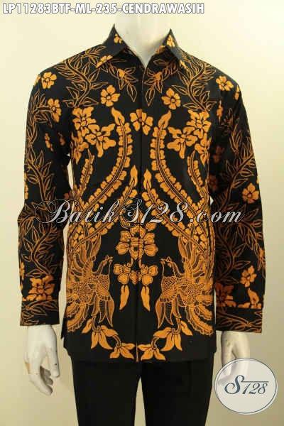 Model Busana Batik Kerja Pria Elegan Dasar Hitam, Baju Batik Halus Lengan Panjang Motif Burung Cendrawasih Full Furing, Tampil Mewah Dengan Harga Murah [LP11283BTF-M]
