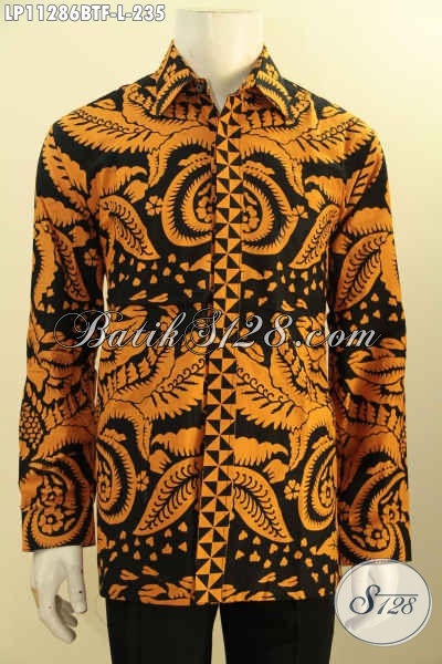 Baju Batik Hem Lengan Panjang Elegan Motif Unik Proses Printing Cabut, Busana Batik Solo Kekinian Mewah Dengan Daleman Lapisan Furing Hanya 235K [LP11286BTF-L]