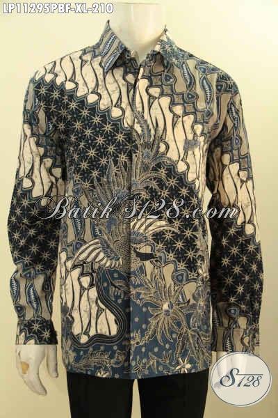 Baju Batik Pria Distro Elegan Dan Berkelas, Busana Batik Lengan Panjang Mewah Motif Klasik Printing Cabut Daleman Di Lengkapi Furing, Tampil  Gagah Dan Mewah [LP11295PBF-XL]
