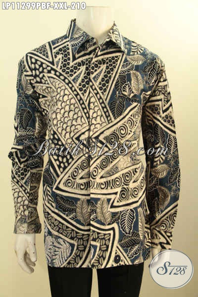 Baju Kemeja Batik Pria Lengan Panjang Full Furing Bahan Adem Proses Printing Cabut,Hem Batik Mewah Halus Motif Klasik Elegan Untuk Kerja Dan Acara Resmi [LP11299PBF-XXL]