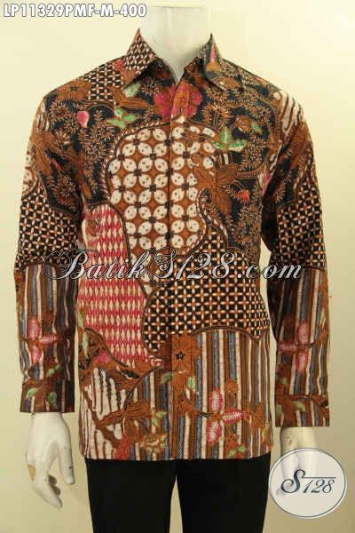 Baju Batik Kemeja Lengan Panjang Full Furing Nan Istimewa, Busana Batik Motif Klasik Khas Jawa Tengah Motif Bagus Untuk Penampilan Gagah Sempurna [LP11329PMF-M]