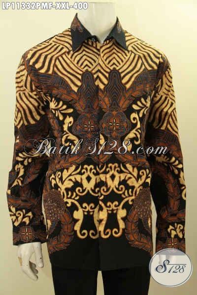 Produk Kemeja Batik Solo Lengan Panjang Mewah Full Furing, Pakaian Batik Istimewa Bahan Adem Motif Bagus Spesial Untuk Pria Gemuk [LP11332PMF-XXL]