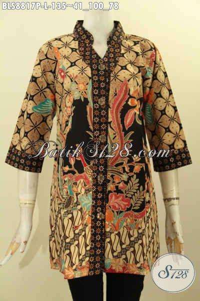 Baju Batik Wanita Bekerja, Blouse Batik Kerah Shanghai Dengan Lengan 3/4 Motif Bagus Desain Mewah, Tampil Cantik Mempesona [BLS8817P-L]