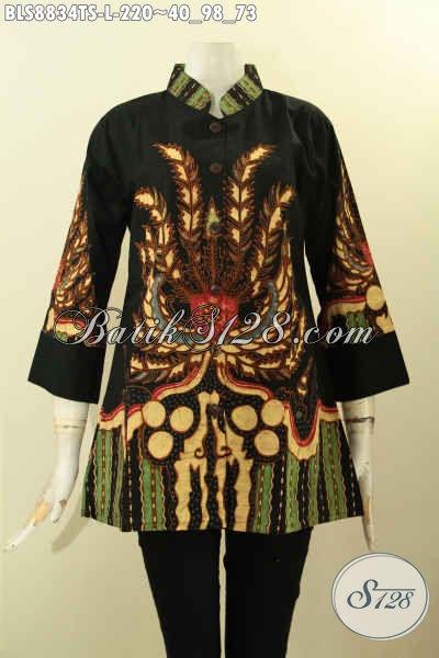 Koleksi Busana Batik Wanita Terbaru, Blouse Batik Kerah Shanghai Lengan 3/4 Bahan Adem Motif Unik Tulis Soga, Pas Buat Ngantor [BLS8834TS-L]