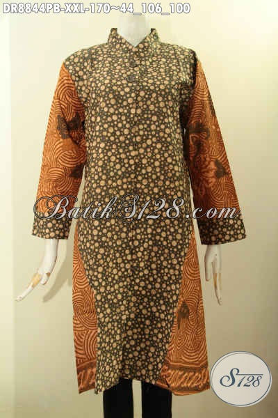 Busana Batik Dress Big Size Motif Kombinasi, Baju Batik Elegan Lengan 7/8 Kerah Shanghai Kwalitas Istimewa, Cocok Untuk Kerja Dan Acara Resmi [DR8844PB-XXL]