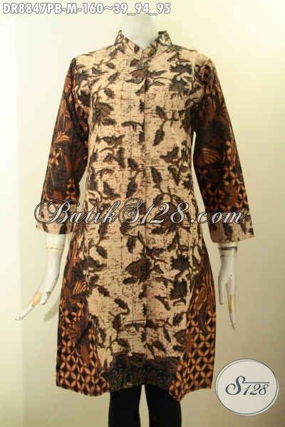 Busana Batik Halus Untuk Wanita Muda, Batik Dress Mewah Modern Kerah Shanghai Lengan 7/8 Motif Kombinasi Tampil Berkelas Dan Mempesona [DR8847PB-M]