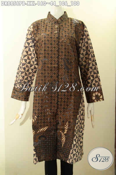 Baju Batik Dress Big Size Motif Klasik Kombinasi, Pakaian Batik Halus Elegan Berkelas Model Lengan 7/8 Kerah Shanghai, Cocok Buat Kondangan [DR8856PB-XXL]