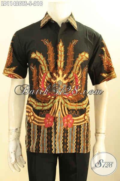 Baju Kemeja Batik Pria Lengan Pendek Halus Motif Unik Proses Tulis Soga, Baju Batik Premium Non Furing Harga Terjangkau [LD11420TS-S]