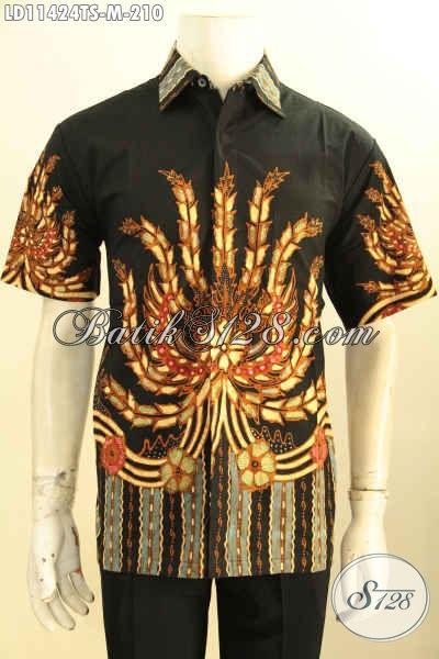 Model Baju Batik Pria Lengan Pendek Modis Kwalitas Bagus Motif Unik Tulis Soga, Keren Buat Hangout Dan Berkelas Untuk Ngantor [LD11424TS-M]