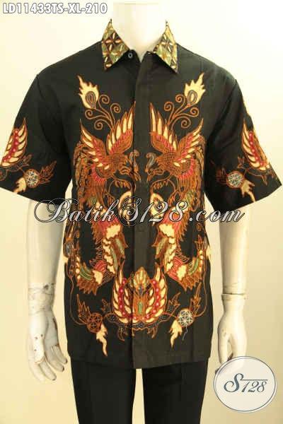 Baju Batik Pria Murah Berkwalitas Istimewa, Hem Batik Tulis Soga Kekinian Desain Trendy Motif Unik Menunjang Penampilan Makin Sempurna [LD11433TS-XL]