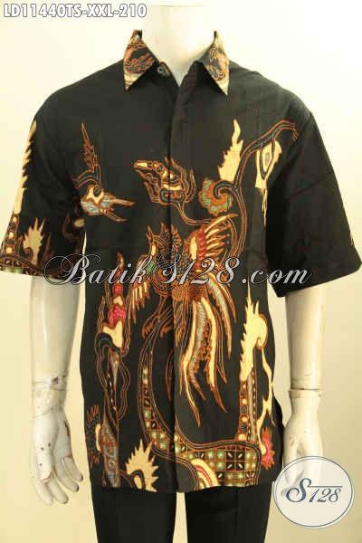Jual Baju Kemeja Batik Lengan Pendek Big Size, Busana Batik Solo Asli Tulis Soga Bahan Halus Motif Bagus, Cocok Untuk Acara Santai Maupun Resmi [LD11440TS-XXL]