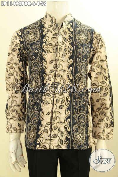 Busana Batik Solo Asli Model Kerah Shanghai, Baju Batik Koko Lengan Panjang Elegan, Spesial Untuk Pria Muda Motif Bagus Proses Printing Cabut Hanya 100 Ribuan [LP11493PBK-S]