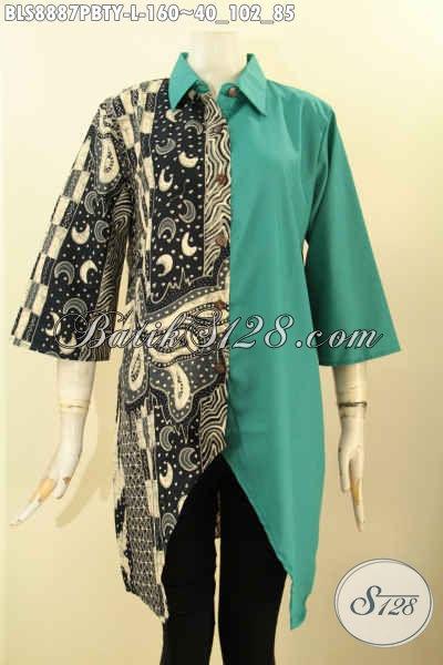 Batik Blouse Modern Lengan 3/4, Busana Batik Wanita Masa Kini Model Kerah Lancip Motif Elegan Kombinasi Katun Polos Toyobo, Pas Untuk Kerja Dan Kondangan [BLS8887PBTY-L]