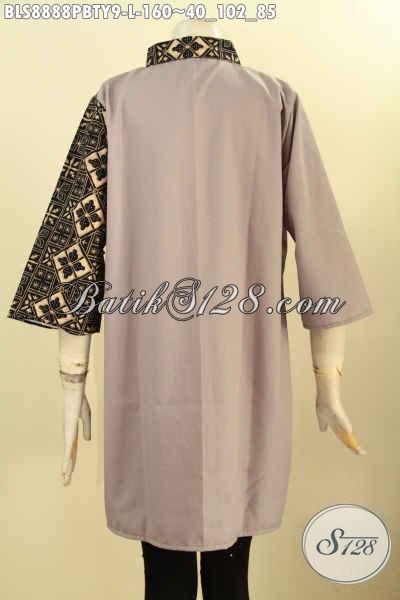 Baju Batik Blouse Desain Unik, Pakaian Batik Trendy Dengan Kombinasi Kain Polos Toyobo Model Kerah Lancip Lengan 3/4, Tampil Gaya Dan Berkelas [BLS8888PBTY-L]