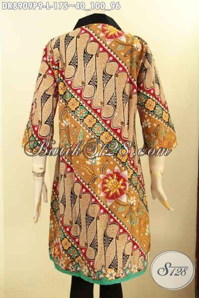 Pakaian Batik Elegan Desain Kerah Polos Lengan 3/4 Resleting Depan, Busana Batik Dress Masa Kini Motif Mewah Proses Printing Kwalitas Istimewa, Cocok Buat Ngantora Dan Acara Resmi