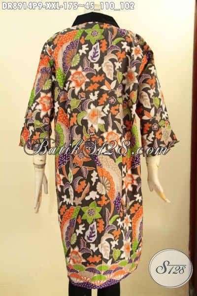 Produk Busana Batik Koleksi Terkini Spesial Untuk Wanita Gemuk, Pakaian Batik Modern Lengan 3/4 Motif Keren Proses Printing, Dress Batik Resleting Depan Kerah Polos, Penampilan Lebih Menawan [DR8914P-XXL]
