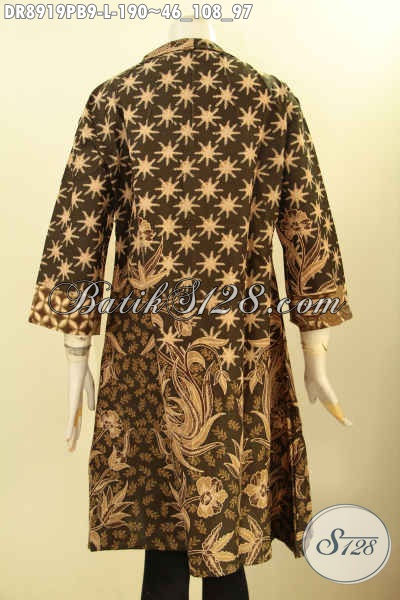 Batik Dress Mewah Khas Jawa Tengah, Busana Batik Istimewa Desain Kerah Langsung Lengan 3/4 Pakai Resleting Depan, Bikin Penampialan Anggun Mempesona