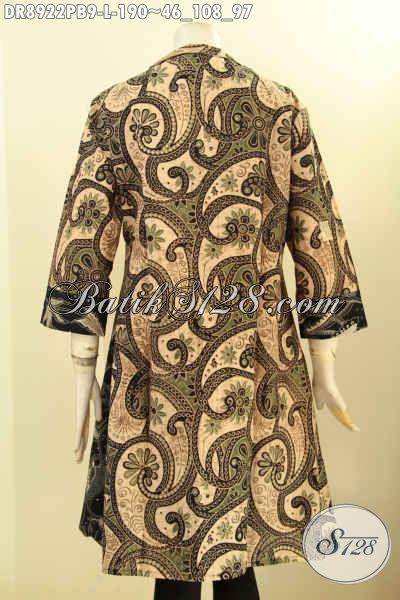 Dress Batik Elegan Dual Warna, Pakaian Batik Halus Desain Kerah Langsung Dengan Lengan 3/4 Di Lengkapi Resleting Depan, Tampil Gaya Dan Mempesona [DR8922PB-L]
