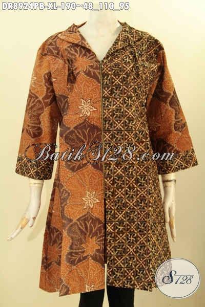 Toko Busana Batik Wanita Online Terlengkap, Jual Dress Batik Lengan 3/4 Kerah Langsung, Busana Batik Istimewa Motif Mewah Bahan Halus Proses Printing Cabut Hanya 100 Ribuan [DR8924PB-XL]