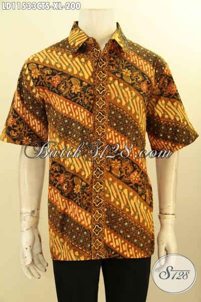 Pakaian Batik Kerja Pria Motif Klasik, Busana Batik Desain Trendy Kwalitas Bagus Model Lengan Pendek Proses Cap Tulis Soga, Menunjang Penampilan Terlihat Macho Dan Tampan [LD11533CTS-XL]