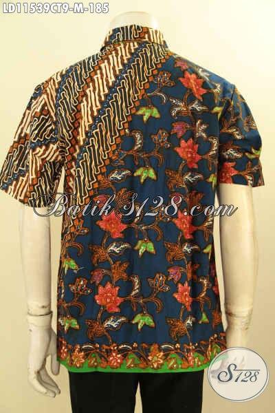 Kemeja Batik Pria Kombinasi, Busana Batik Elegan Motif Modern Klasik Model Lengan Pendek, Cocok Banget Untuk Acara Resmi Maupun Santai, Tampil Gagah Dan Tampan Maksimal [LD11539CT-M]