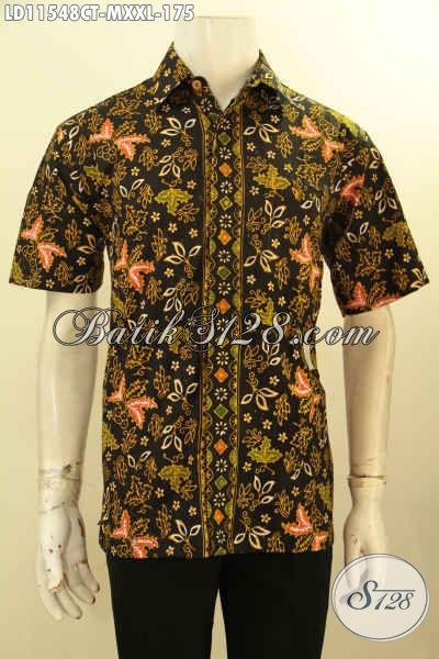 Aneka Busana Batik Keren Khas Jawa Tengah, Kemeja Batik Untuk Tampil Trendy Dan Gagah Model Lengan Pendek Motif Unik Proses Cap Tulis Hanya 175K [LD11548CT-M]