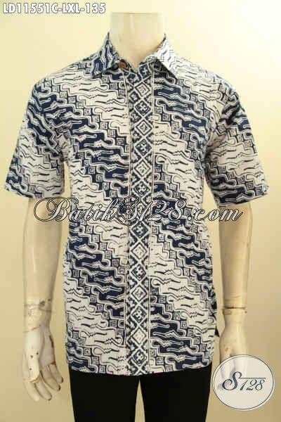 Batik Hem Elegan Motif Parang, Busana Batik Solo Proses Cap Kwalitas Bagus Bahan Halus Nyaman Di Pakai Kerja Model Lengan Pendek