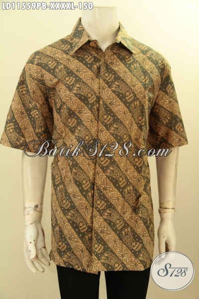 Baju Batik Kerja Kantoran Pria Gemuk Sekali, Busana Batik Ukuran L5 Bahan Halus Motif Bagus Proses Printing Cabut, Cocok Juga Untuk Acara Resmi