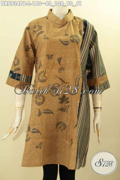 Produk Busana Batik Koleksi Terbaru Untuk Wanita Masa Kini, Dress Batik Lengan 7/8 Resleting Belakang Model Kerah Shanghai, Istimewa Untuk Acara Resmi [DR8934PB-L]